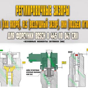 Регулировочные зазоры (AH, RLS, DNH) для форсунки Bosch 0445110047