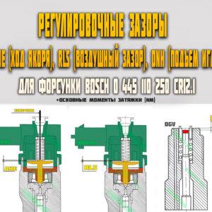 Регулировочные зазоры (AH, RLS, DNH) для форсунки Bosch 0445110250