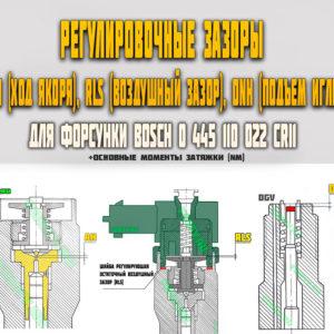 Регулировочные зазоры (AH, RLS, DNH) для форсунки Bosch 0445110022
